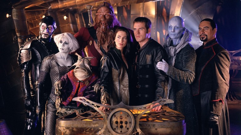 The space crew of Farscape on the bridge of Moya