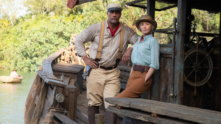 Dwayne Johnson and Emily Blunt on the boat in Jungle Cruise Review