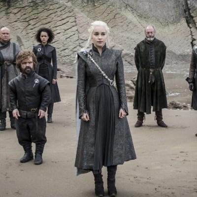 Varys, Tyrion Lannister, Missandei, Daenerys Targaryen, Davos Seaworth, and Jon Snow in Game of Thrones season 7