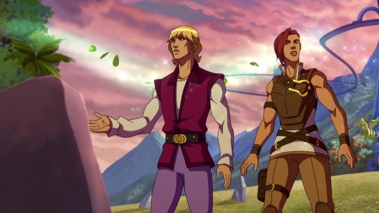 Prince Adam (Chris Wood) and Teela (Sarah Michelle Gellar) in Masters of the Universe: Revelation