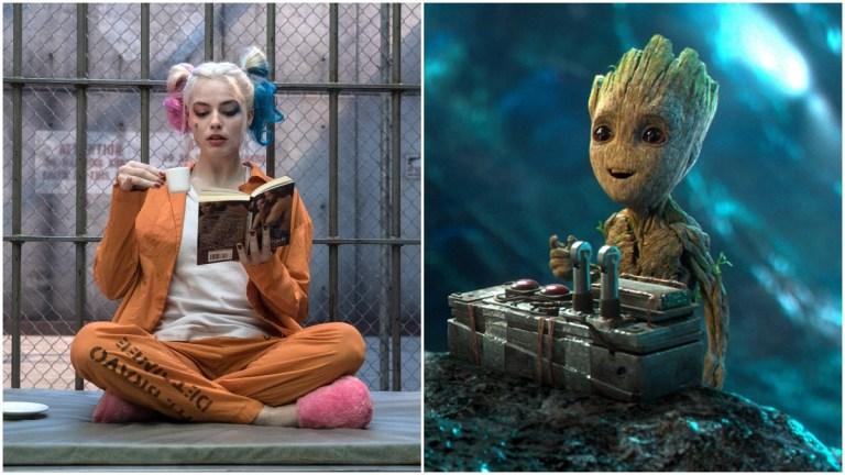 Harley Quinn (Margot Robbie) in Birds of Prey and Groot (Vin Diesel) in Guardians of the Galaxy Vol. 2