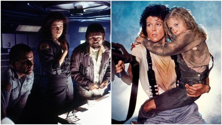 Sigourney Weaver as Ripley in Alien (1979) and Aliens (1986)