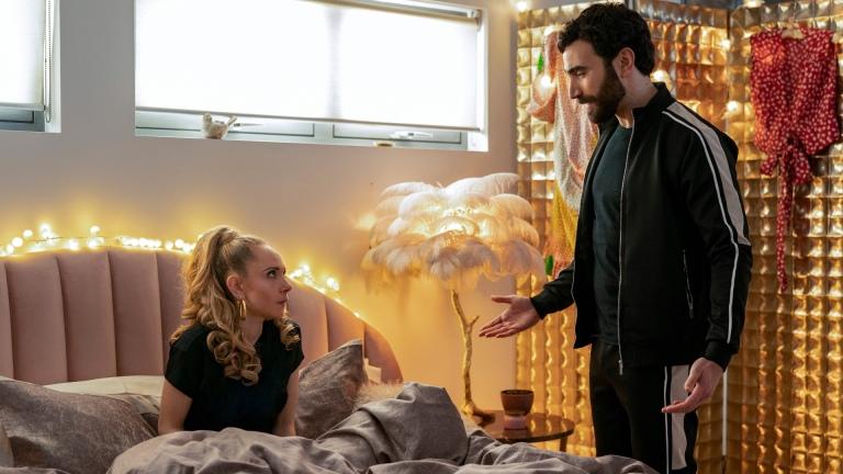 Roy Kent (Brett Goldstein) and Keeley Jones (Juno Temple) in Ted Lasso season 2 episode 2