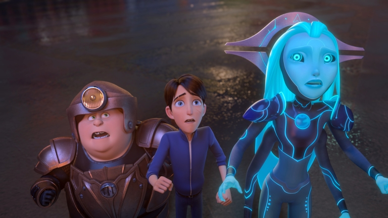 Trollhunters: Rise Of The Titans - (L-R) Toby (voiced by Charlie Saxton), Jim (voiced by Emile Hirsch) and Aja (voiced by Tatiana Maslany)