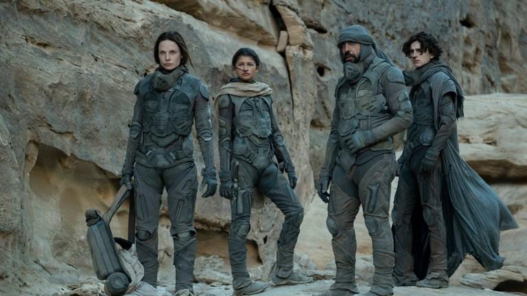 Zendaya, Timothée Chalamet and Rebecca Ferguson in Dune