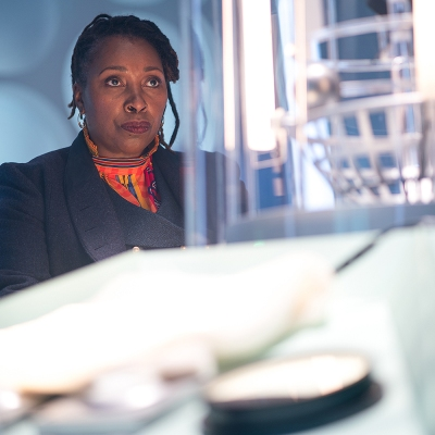 Jo Martin on the TARDIS as Ruth Doctor in Doctor Who