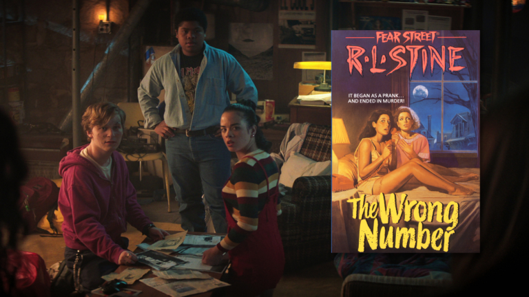 Three teens sit around a table in Netflix's Fear Street, with a book cover of R.L. Stine's Fear Street superimposed on the image