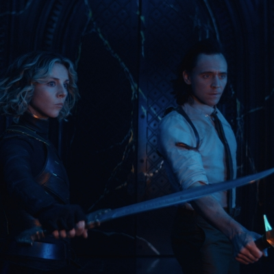 Sylvie (Sophia Di Martino) and Loki (TomHiddleston) in Marvel Studios' Loki episode 6