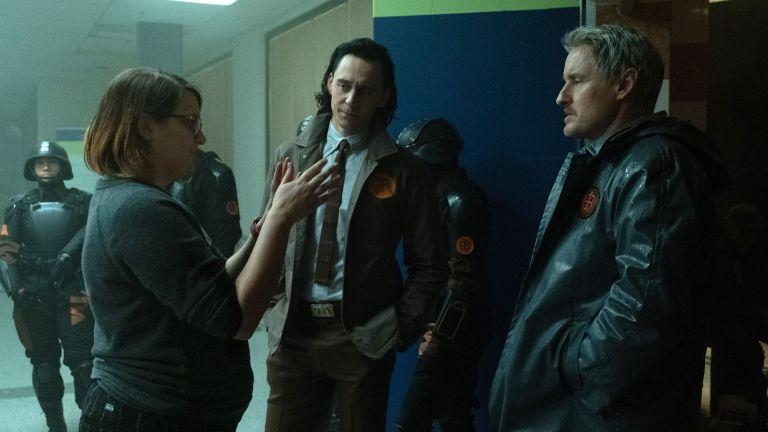 Kate Herron directs Tom Hiddleston and Owen Wilson on the set of Loki
