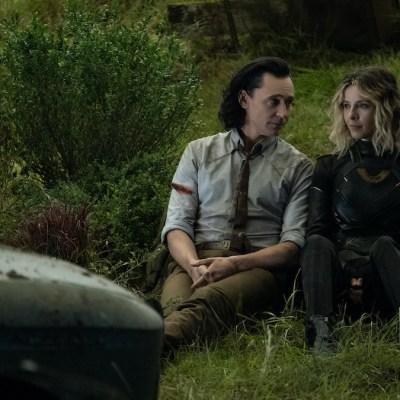 Tom Hiddleson as Loki and Sofia Di Martino as Sylvie in Marvel's Loki