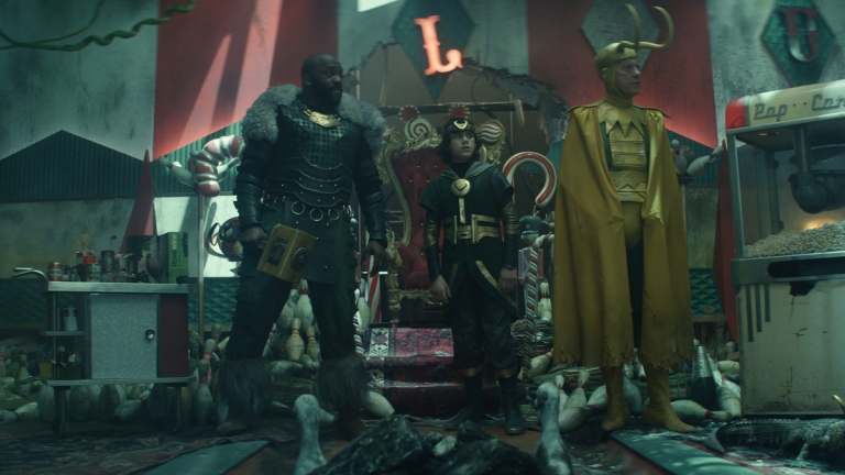 Boastful Loki (DeObia Oparei), Kid Loki (Jack Veal), Classic Loki (Richard E. Grant) and Alligator Loki in Marvel's Loki episode 5