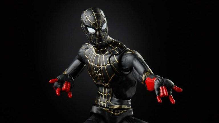 Spider-Man: No Way Home Black & Gold Suit Marvel Legends figure.