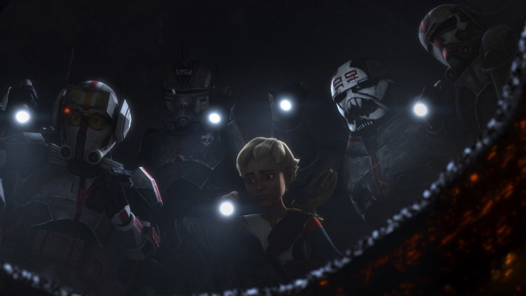 """Tech, Echo, Omega, Wrecker and Hunter in a scene from """"STAR WARS: THE BAD BATCH"""
