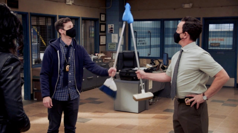 Jake Peralta (Andy Samberg) and Charles Boyle (Joe Lo Truglio) in Brooklyn Nine-Nine Season 8 Episode 1