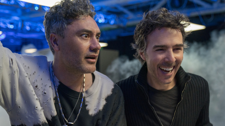 Taika Waititi and Shawn Levy on the set of Free Guy