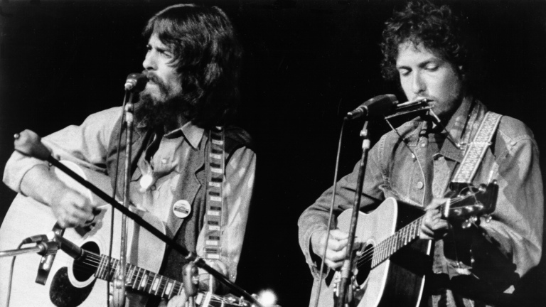 George Harrison and Bob Dylan at The Concert for Bangladesh