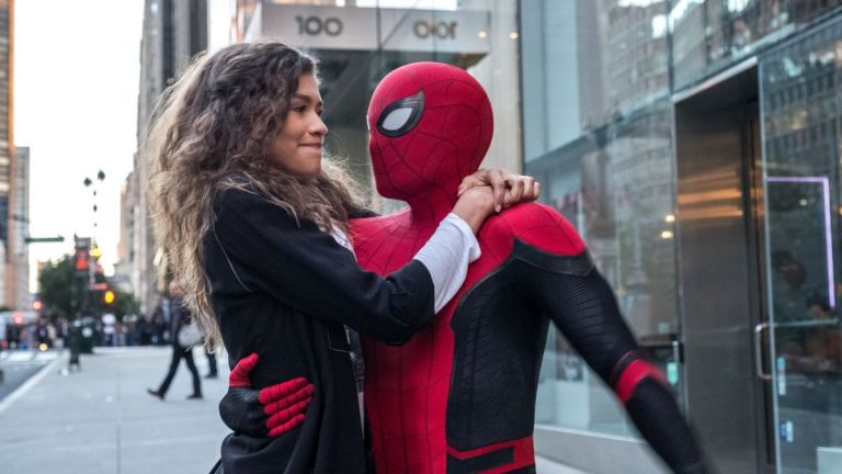MJ (Zendaya) and Peter Parker (Tom Holland) in Spider-Man: Far From Home