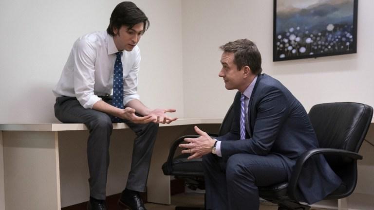 Cousin Greg (Nicholas Braun) and Tom Wambsgans (Matthew Macfadyen) in Succession season 2