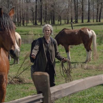 Carol (Melissa McBride) and a horse in The Walking Dead season 11