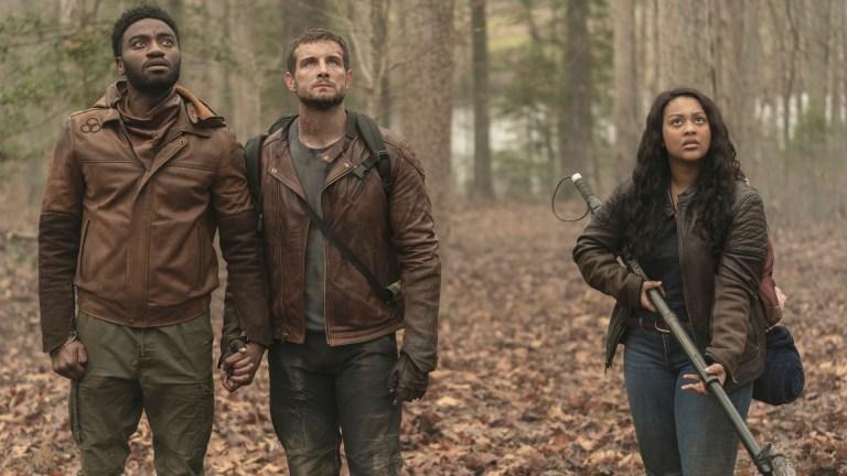 Will (Jelani Alladin), Felix (Nico Tortorella), and Iris (Aliyah Royale) in The Walking Dead: World Beyond
