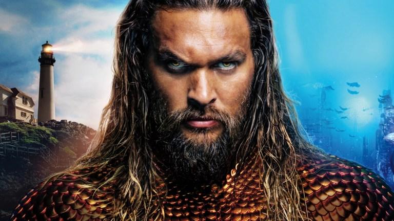 Jason Momoa; Aquaman poster.