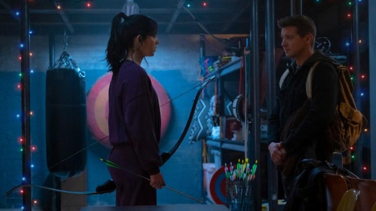 Kate Bishop (Hailee Steinfeld) and Hawkeye/Clint Barton (Jeremy Renner) in Marvel Studios' HAWKEYE