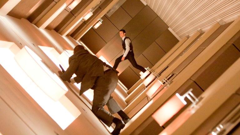 Joseph Gordon-Levitt in the corridor in Inception