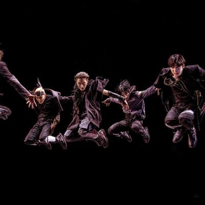 Korean boy band Ateez jumps in the air