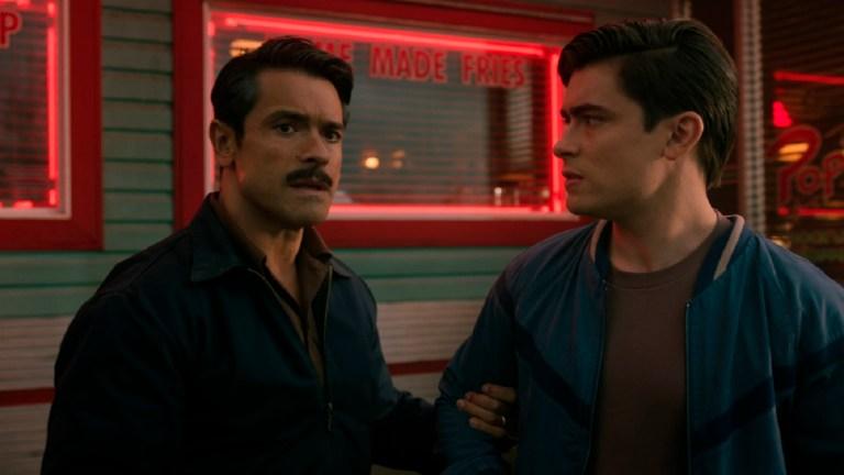 Mark Consuelos as Javier Luna and Michael Consuelos as Young Hiram
