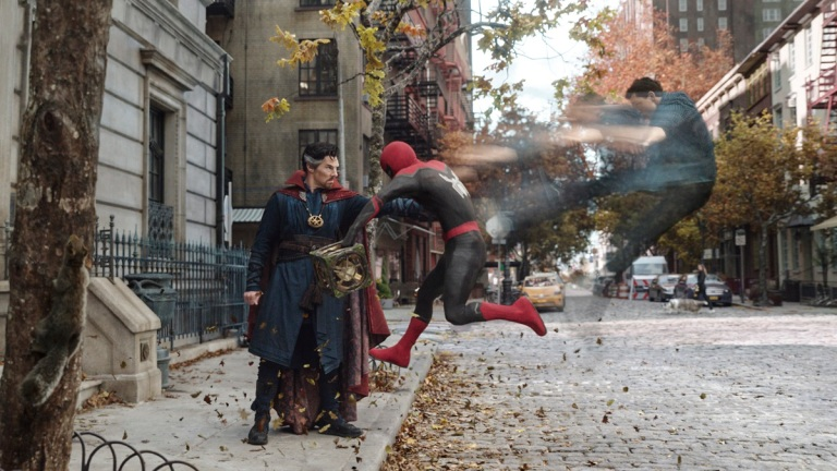 Benedict Cumberbatch as Doctor Strange and Tom Holland as Peter Parker in Spider-Man: No Way Home