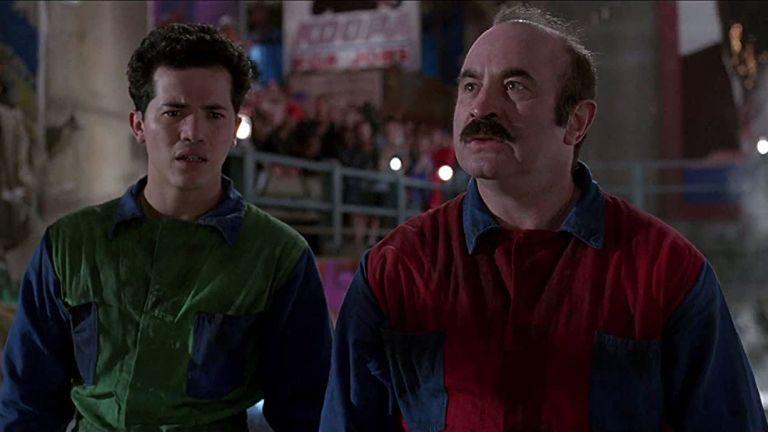 Bob Hoskins as Mario and John Leguizamo as Luigi in the Super Mario Bros. movie