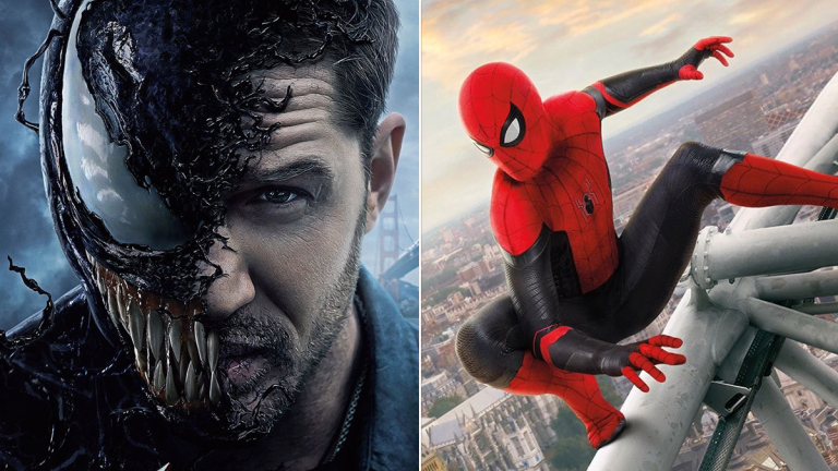 Tom Hardy on the Venom poster; Tom Holland from Spider-Man: Far from Home.