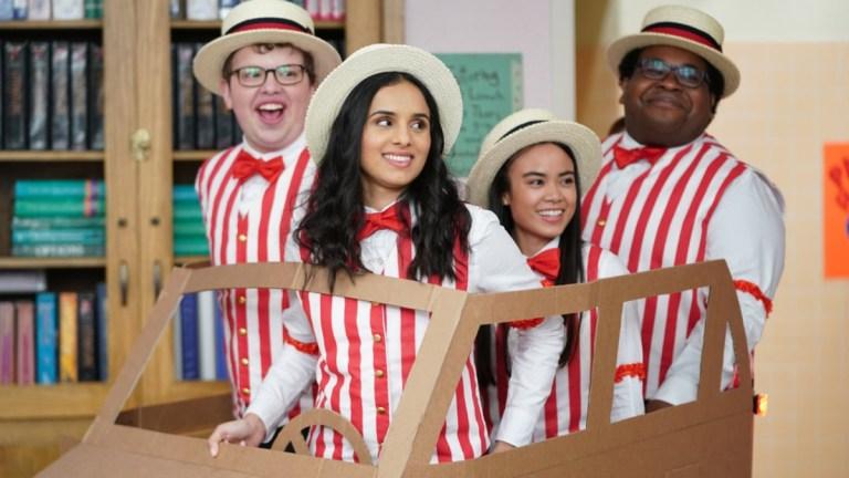 Victor (Jacob Houston), Sarika (Aparna Brielle), Grace (Sari Arambulo), and Anthony (Eddie Leavy) in A.P. Bio season 4