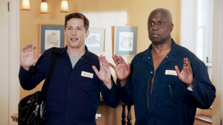Jake Peralta (Andy Samberg) and Ray Holt (Andre Braugher) in Brooklyn Nine-Nine season 8