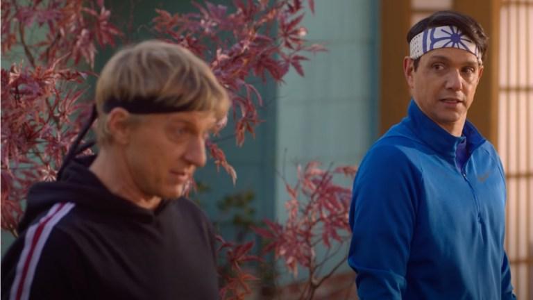Johnny Lawrence (William Zabka) and Daniel LaRusso (Ralph Macchio) in Cobra Kai season 4