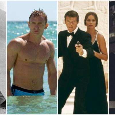 Sean Connery, Daniel Craig, Roger Moore, and Pierce Brosnan as James Bond