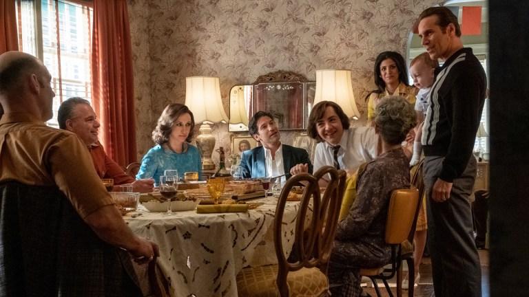 "COREY STOLL as Junior Soprano, unnamed extra, VERA FARMIGA as Livia Soprano, JON BERNTHAL as Johnny Soprano, MICHAEL GANDOLFINI as Teenage Tony Soprano, GABRIELLA PIAZZA as Joanne Moltisanti and ALESSANDRO NIVOLA as Dickie Moltisanti in New Line Cinema and Home Box Office's mob drama ""THE MANY SAINTS OF NEWARK,"" a Warner Bros. Pictures release."