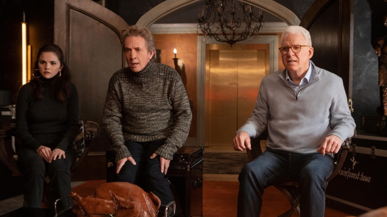 Selena Gomez, Martin Short, and Steve Martin in Only Murders in the Building