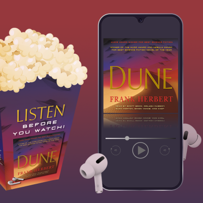 Dune popcorn box and the Dune audiobook image on a cell phone