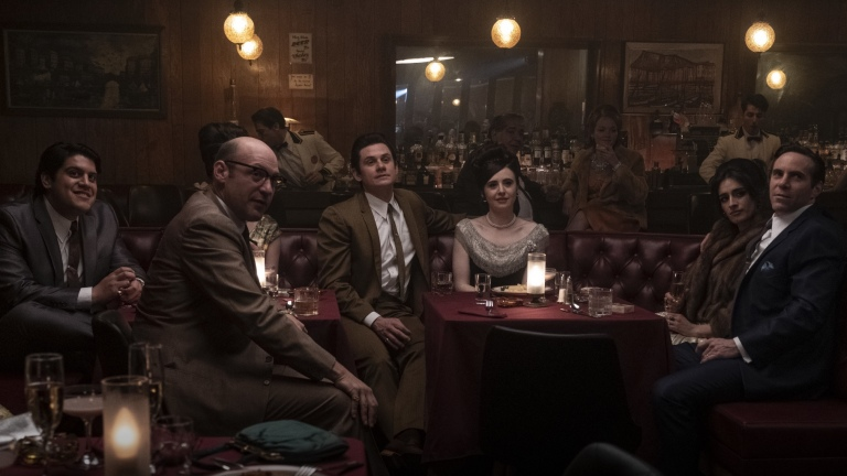 """AMSON MOEAKIOLA as Pussy Bonpensiero, COREY STOLL as Junior Soprano, BILLY MAGNUSSEN as Paulie Walnuts, MICHELA DE ROSSI as Giuseppina Moltisanti (second from right) and ALESSANDRO NIVOLA as Dickie Moltisanti in New Line Cinema and Home Box Office's mob drama """"THE MANY SAINTS OF NEWARK,"""" a Warner Bros. Pictures release."""