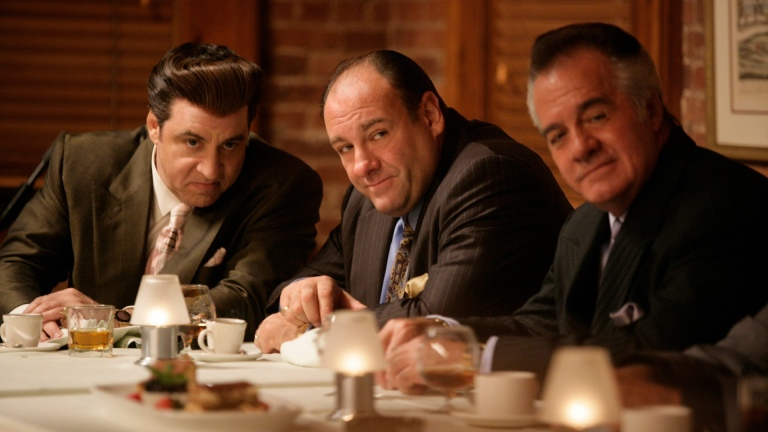 Silvio Dante (Steven Van Zandt), Tony Soprano (James Gandolfini), and Paulie Walnuts (Tony Sirico)
