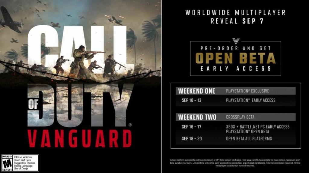 Call of Duty Vanguard Beta Dates