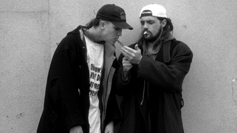 Clerks; Jason Mewes as Jay, Kevin Smith as Silent Bob.