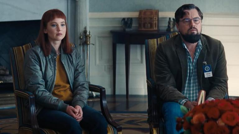 Jennifer Lawrence and Leonardo DiCaprio in Don't Look Up