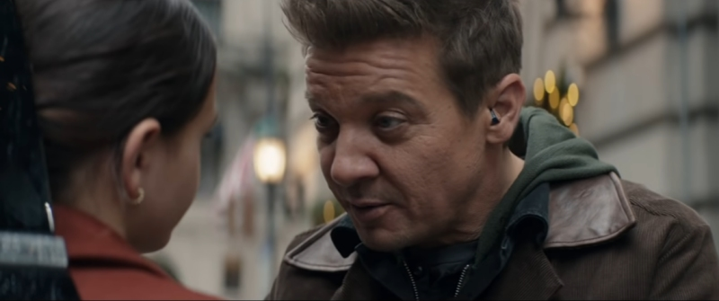 Jeremy Renner as Clint Barton wearing a hearing aid in Marvel's Hawkeye