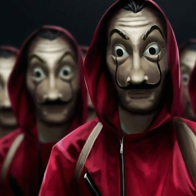 Masked figures in red jumpsuits from Netflix's Money Heist