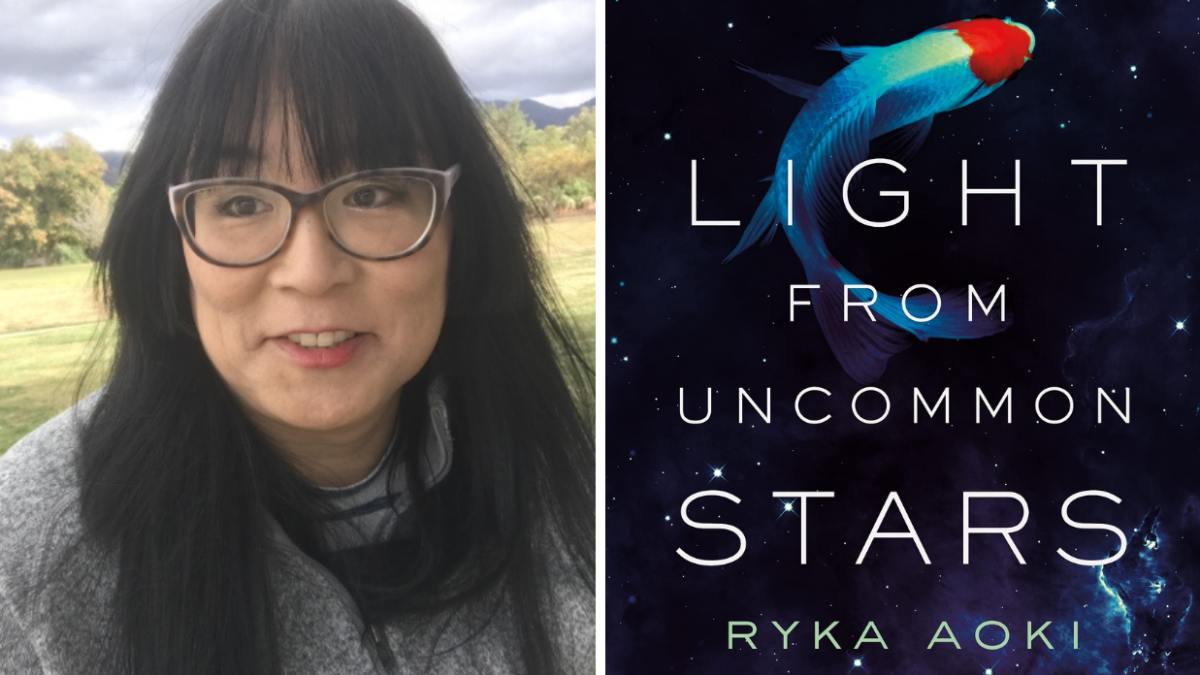 Author Ryka Aoki and the book cover for Light From Uncommon Stars