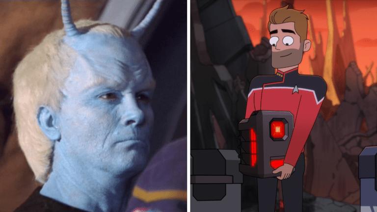 Jeffrey Combs as an Andorian on Star Trek: Enterprise, and as an evil computer on Lower Decks