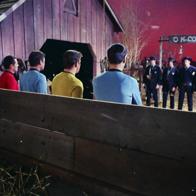 The Star Trek crew in an old-fashioned western stand off