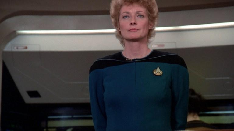 Diana Muldaur as Dr. Pulaski in Star Trek: The Next Generation